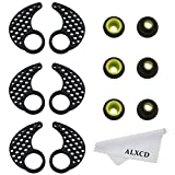ALXCD Earhook for Jaybird Bluebud X X2, Medium Size 3 Pair Anti-Slip Sport Ear Hook & 3 Pair Durable Soft Silicone Replacement Ear Tip, Fit for Jaybird X X2 Earphone (Black-M)