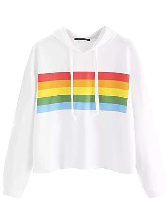 88b758e9c7f0 Sweat Court a Capuche Femme, Sweatshirt Arc en Ciel Rayé Sport Pull Ado  Fille à La Mode Sweat-Shirt Chic Manteau Pas Cher Pullover Sweat Shirt Tee  Shirt ...