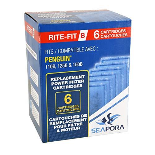 Seapora Rite-Fit B Cartridges for Penguin Power Filters - 110B/125B/150B - 6 pk