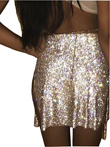 - Khaleesi Women's Crystal Summer Skirts Beach Slits Tassel Party Skirt Silver one Size