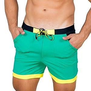 Taddlee Men Swimwear Solid Basic Long Swim Boxer Trunks Board Shorts Swimsuits, Green, Small