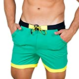 Taddlee Men Swimwear Solid Basic Long Swim Boxer Trunks Board Shorts Swimsuits, Green, Large