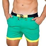 Taddlee Men Swimwear Solid Basic Long Swim Boxer Trunks Board Shorts Swimsuits, Green, Medium