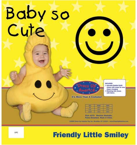 Dress Up America Friendly Little Baby Smiley, Yellow, 0-6 Months