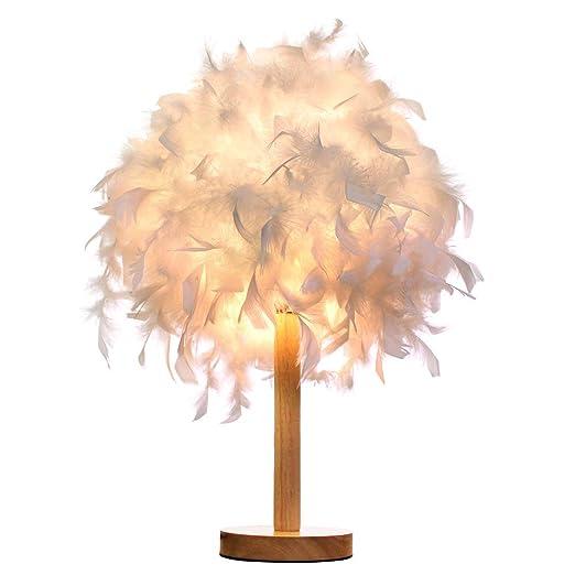 Lámpara de mesa de plumas de madera romántica piel princesa ...