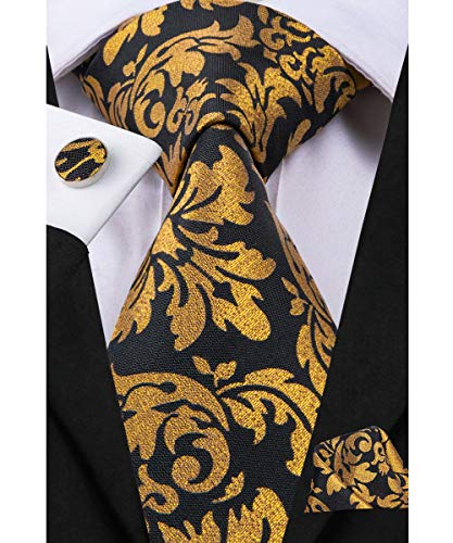 Dubulle Mens Black Gold Floral Silk Tie and Cufflinks with Pocket Square