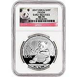 #7: 2017 CN China Silver Panda (30 g) Early Releases Red Panda Label 10 Yuan MS70 NGC