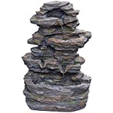 CYA-DECOR Rock Tabletop Fountain Indoor, 4 Tiers Waterfall Fountains Outdoor with LED Lights, 15.7 Inches Height