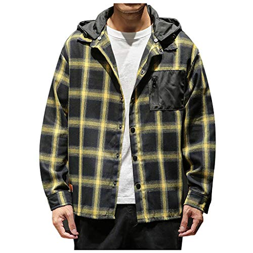 Men's Casual Fashion Plaid Printing Loose Hoodie Removable Long Sleeve Shirt Top Yellow