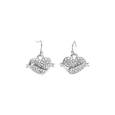 442124aaa Guess Women Earrings drop earrings Metal silver Heart UBE11001: Amazon.co.uk:  Jewellery