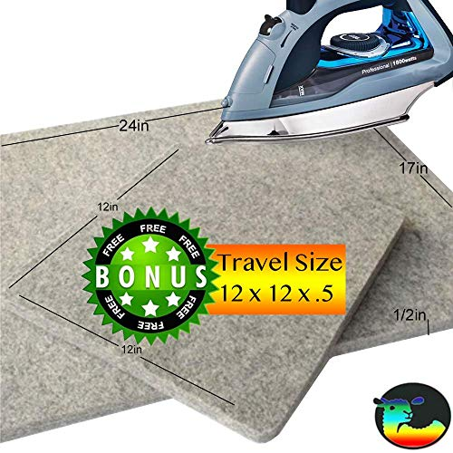 Wool Ironing Mat Pro 2 PACK – INTRO OFFER 17″x24″x0.5″+12″x12″x.5 100% New Zealand Wool Professional Ironing Portable Quilting Heat Pressing Pad for Arts and Craft, Sewing, Iron Pad, by Quilt in Color