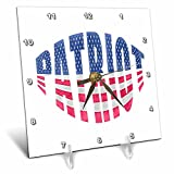 3dRose Andrea Haase Patriotic Art - Home Of The Free Lady Liberty America Patriotic Art On Grey - 6x6 Desk Clock (dc_282633_1)