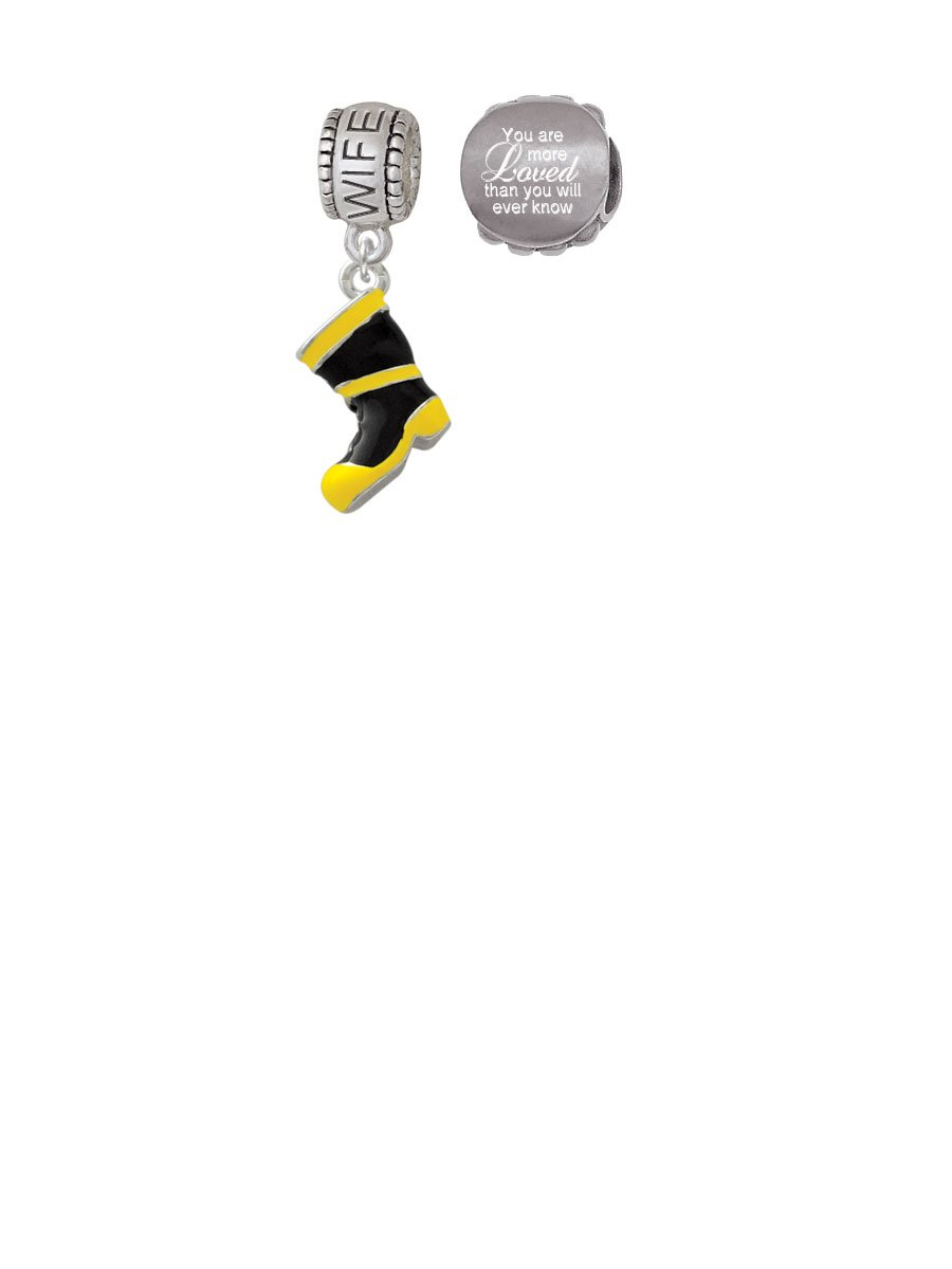 Black and Yellow Firefighter Boot Wife Charm Bead with You Are More Loved Bead (Set of 2)