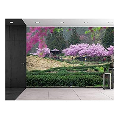 Serene Japanese Garden with Cherry Blossom Trees and a Kiosk - Wall Mural, Removable Sticker, Home Decor - 66x96 inches