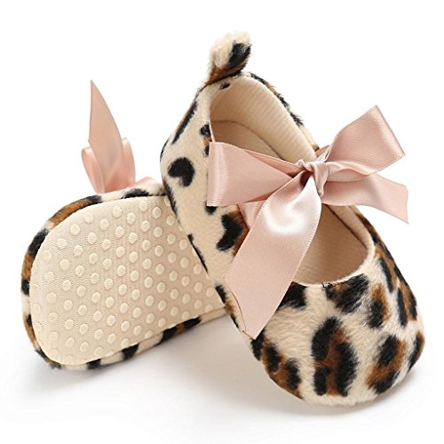 74b01babe709 Amazon.com: WARMSHOP Toddler Girls Cute Leopard Print Lace up Bowknot Soft  Prewalker Crib Shoes: Clothing