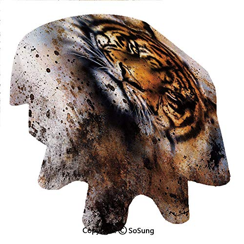 Tiger Oval Polyester Tablecloth,Wild Beast Looking Straight into The Eyes of The Viewer Angry Looking Panthera Tigris Decorative,Dining Room Kitchen Oval Table Cover, 60 x 102 inches,Multicolor