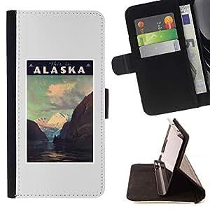 For Apple iPhone 5C Case , Estado Montañas Invierno Usa- la tarjeta de Crédito Slots PU Funda de cuero Monedero caso cubierta de piel