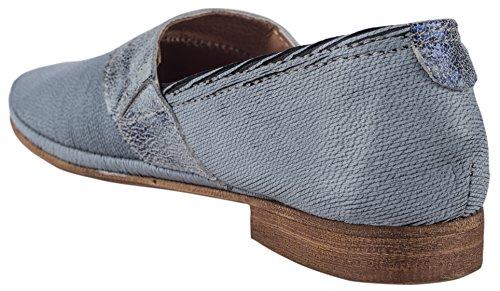 Charme Damen Slipper Textil Blau