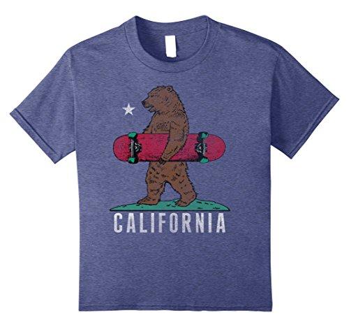 Kids California Flag Bear Red Skateboard Vintage Graphic T-Shirt 12 Heather Blue