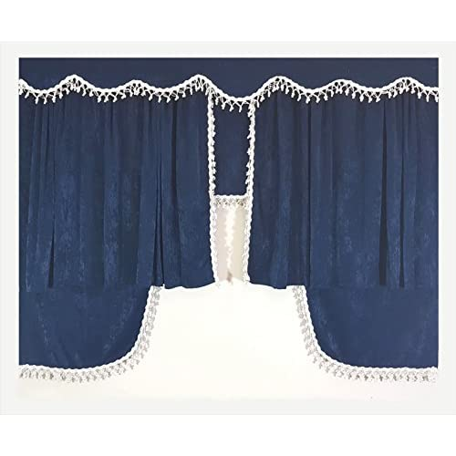 Lot De 5 Pieces Bleu Rideaux Blanc Avec Pompon Taille Universelle