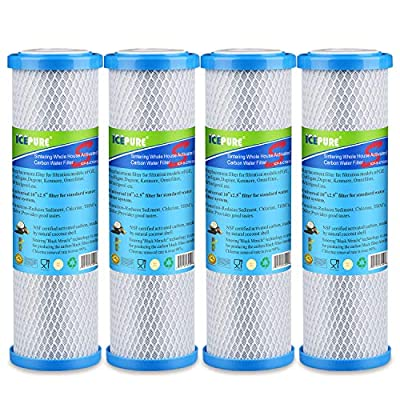 """Icepure ICP-S-CTO10 4 Pack Carbon Block Filter Cartridge Whole House Sintering Activated Carbon Water Filter 10"""" x2.5"""""""