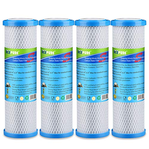"GOLDEN ICEPURE 1 Micron 2.5"" x 10"" Whole House CTO Carbon Sediment Water Filter Replacement Cartridge Compatible with RO Unit, Dupont WFPFC8002,WFPFC9001, FXWTC, SCWH-5, WHEF-WHWC, WHCF-WHWC, 4 Pack"