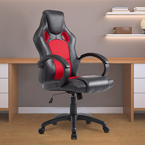 acepro office chair desk chair computer gaming chair high back leather office desk chairs adjustable executive chair pu leather blackred