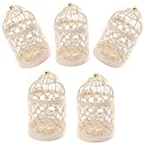 Freedi Metal Candle Holder Centerpiece Decorative Hollow out Birdcage Iron LED Hanging Candlestick Lantern (5Pcs)