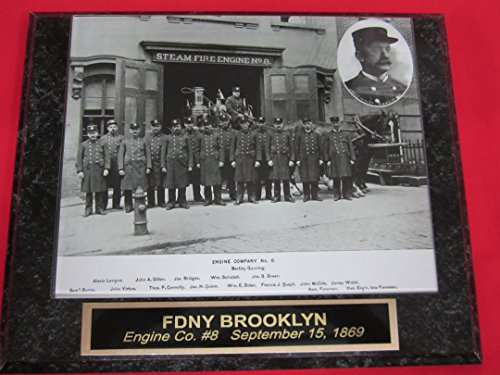 FDNY New York City Fire Department Engraved Collector Plaque w/8x10 Brooklyn Engine 8 circa 1869
