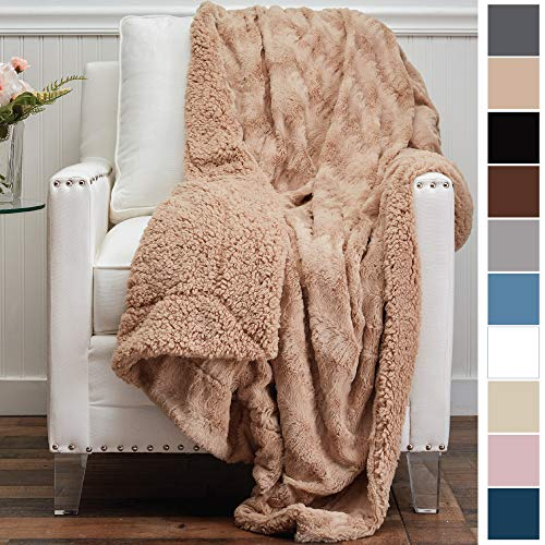 (The Connecticut Home Company Luxury Faux Fur with Sherpa Reversible Throw Blanket, Super Soft, Large Wrinkle Resistant Blankets, Warm Hypoallergenic Machine Washable Couch/Bed Throws, 65x50 (Beige))