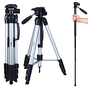 Albott 70″ Travel Portable DSLR Camera Tripod Monopod Flexible Head for Canon Nikon with Carry Bag