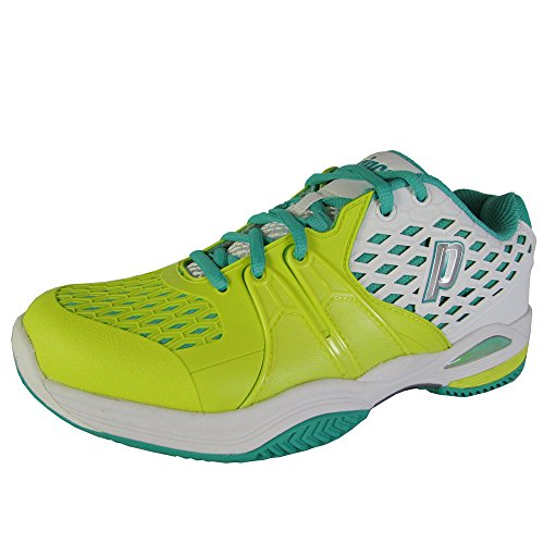 Prince Womens Warrior Tennis Sneaker Shoes, White/Lemon/Teal, US 9