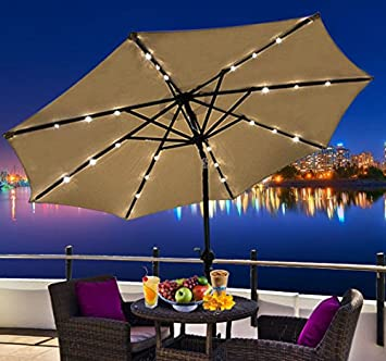 Outsunny Outdoor Patio Umbrella With Tilt And Solar Powered LED Lights,  9 Feet,