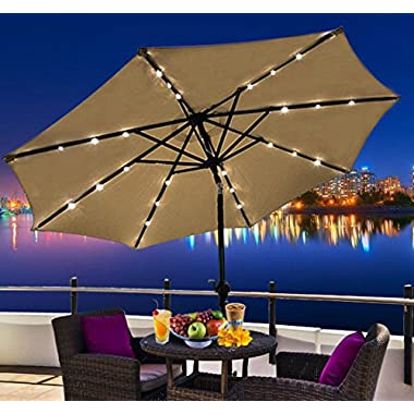 Outsunny Outdoor Patio Umbrella with Tilt and Solar Powered LED Lights, 9-Feet, Latte Brown