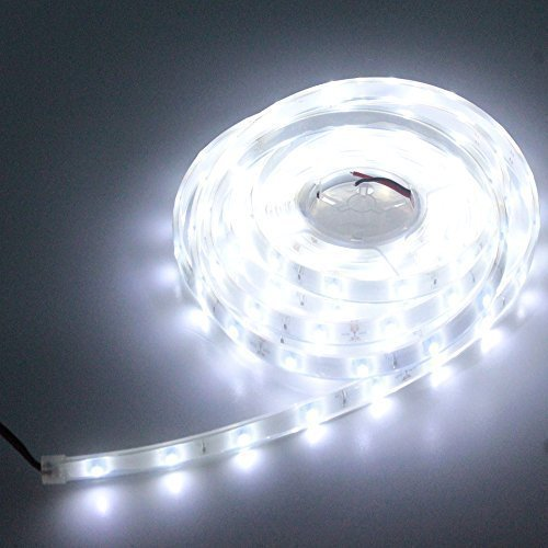 LEDMY Flexible Led Strip Lights UL(E477884) certification DC 24V 12W SMD3528 150LEDs IP68 Waterproof Under Cabinet Lights Cool White 6000K 5Meter/ 16.4Feet Using for Spa Light, Homes, Kitchen Decor
