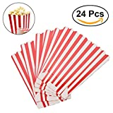popcorn and candy holder - NUOLUX Popcorn Boxes Holder Containers Cartons Paper Bags Stripe Box for Movie Theater Dessert Tables 24pcs (Red)