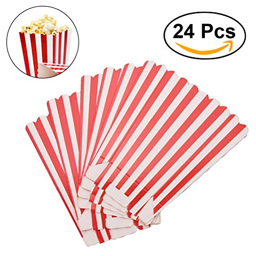 TOYMYTOY 24pcs Paper Popcorn Boxes Striped Bulk for Graduation Party Supplies (Red)