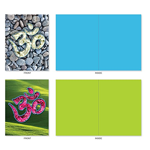 M3971 Om Blooms: 10 Assorted Blank All-Occasion Note Cards Feature a Universal Symbol for Peace and Serenity, w/White Envelopes. Photo #6