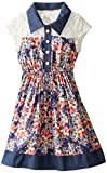Bonnie Jean Little Girls' Challis and Chambray Shirt Dress