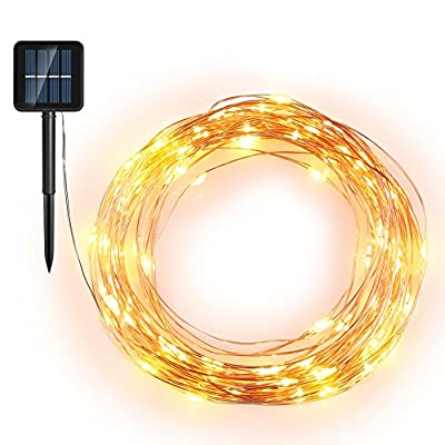 Starry String Lights, Solar Powered String Lights, 33ft 100 LED Copper Wire Lights, Indoor/ Outdoor Waterproof Solar Decoration Lights for Gardens, Home, Dancing, Party Decorative Ornaments Golden