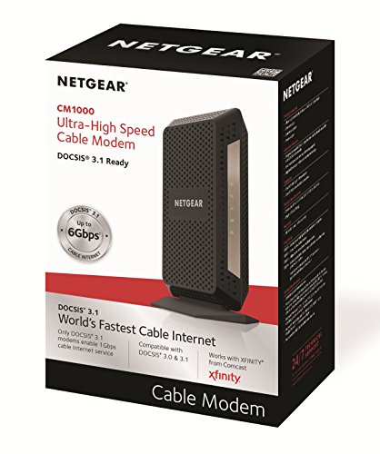 NETGEAR DOCSIS 3.1 Gigabit Cable Modem. Max download speeds of 6.0 Gbps, For XFINITY by Comcast, Spectrum, and Cox… 5 Support all cable internet speed tiers, up to Gigabit (1000 Mbps) service. Separate router required for WiFi. DOCSIS 3.1 up to 10X faster download speeds than DOCSIS 3.0. DOCSIS 3.1 is OFDM 2x2+ DOCSIS 3.0 32x8 channel bonding ELIMINATE MONTHLY CABLE MODEM RENTAL FEES - Up to $120 per year;32 downstream and 8 upstream channels for DOCSIS 3.0 connection