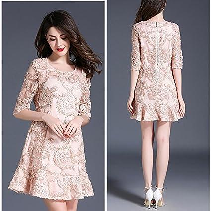84669718b SONGQINGCHENG Última Moda Luz Pista Encaje Rosa Vestido De Mujer ...