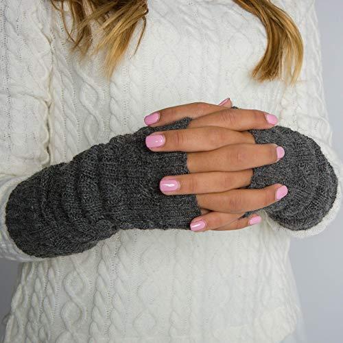 (Surhilo Barranco Alpaca Knit Fingerless Gloves - Charcoal Grey - Winter Luxury Hand Warmers for Women, Men & Kids)