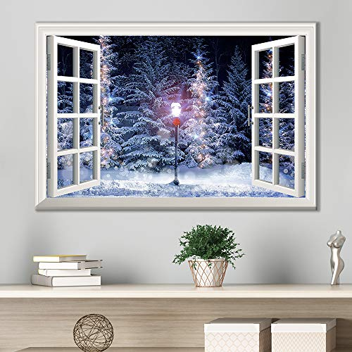 Window Frame Style Snow Covered Pine Trees and Street Lamp During Christmas Season