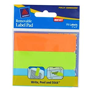 Avery Removable Label Pads, Assorted Sizes and Colors, Pack of 75 (12036)