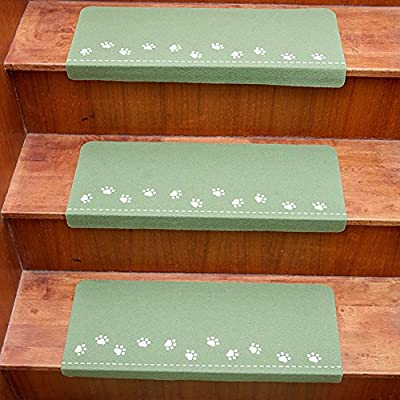 """Lalago Paw Pattern Luminous Carpet Stair Tread Mats - (21.65""""x8.86"""") 