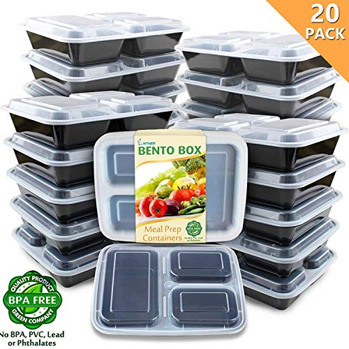 Enther Meal Prep Containers [20 Pack] 3 Compartment with Lids, Food Storage Bento Box | BPA Free | Stackable | Reusable Lunch Boxes, Microwave/Dishwasher/Freezer Safe, Portion Control (36 oz)