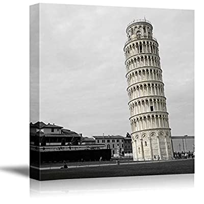 Black and White Photograph of Rome with Pop of Color on The Leaning Tower of Pisa, Crafted to Perfection, Amazing Design