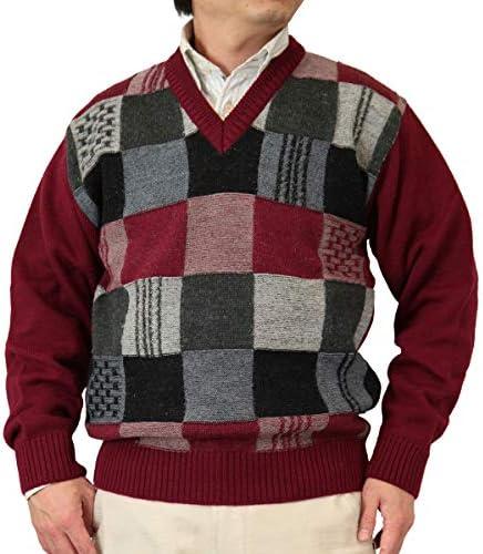 【Aspetiva】【3色:S/M/L/LL】ウール100% 7ゲージ 格子柄 Vネックセーター 紳士/日本製(3085)