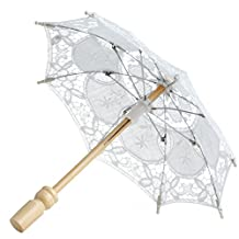 MEXUD Lace Embroidered Parasol Umbrella For Bridal Wedding Party Decoration (White)